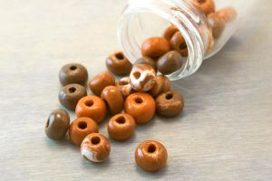 Burnt Orange Polymer Clay Beads by OneUrbanTribe