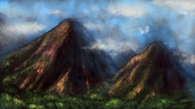 Brushes Experiment - Mountains by Daimera