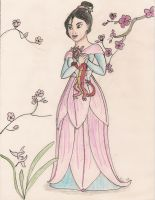 Mulan in magnolia dress by A-KTheLittleFairy