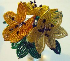 French Beaded flowers by BunnehDemon
