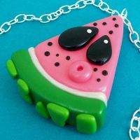 Watermelon Slice Necklace by beatblack