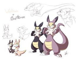 Voltroo and Batteroo: Fakemon by Lanmana