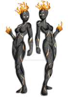 Character Concept Design - Lava Goddess With Flame by LovesBloom