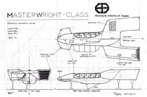 Masterwright-class Mercantile Cruiser 3-View by TheCentipede