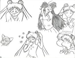 sailor moon doodles by Sasuke-fan