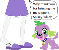 Spike brings EQ Rarity her Slippers by ChipmunkRaccoon2