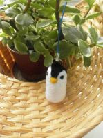 [Sold] Needle felted Penguin charm by Panda-Devil