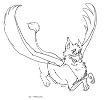Griffon Line Art Flying by Greykitty