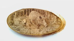 Wild pigs (Sus scrofa) pyrography by FizikArt