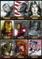 Iron Man 2 Sketchcards 1 to 9 by Guy-Bigbelly
