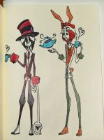 The Mad Hatter and March Hare by 2nd-phase-idiot