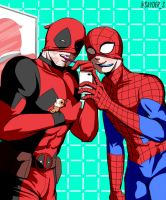 [Spidypool] Deadpool n Spidy brush and take a pic! by sayder-S