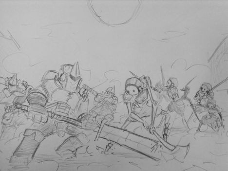 Sketch: The Melee by woundedskies
