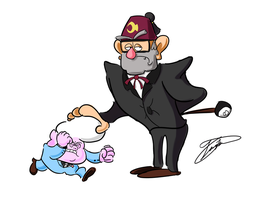 Grunkle Stan and Lil' Gideon by LuckyZapper