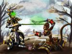 LoL Digi-Art Throwdown: Master Yi and Wukong by ekoi1995