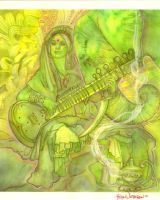 Ganesha and Saraswati by PearlWhitecrow