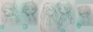 Free OC Sketches- Chibis Set 1 by MistressAmerah