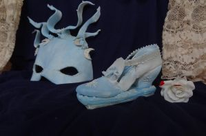Juliet Capulet Mask and Ornamental Shoe by FifiCake
