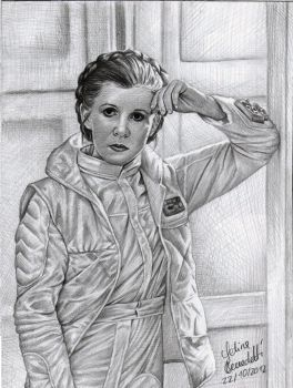 Princess Leia on Hoth Graphite Drawing by AngelinaBenedetti