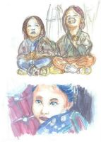 Kids watercolor sketches by Mee-Lin