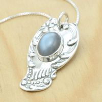 Spoon Pendant with Grey Moonstone by metalsmitten