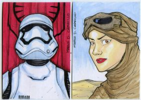 Two PSC sketch cards Star Wars TFA by mdavidct