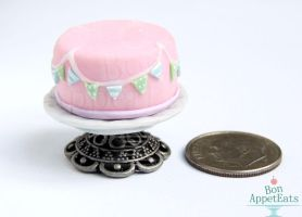 Commission: 1:12 Pink Fondant Cake by Bon-AppetEats