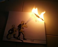 Firefighter Save My Artwork by SudiLin