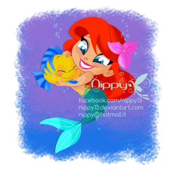 Ariel and Flounder Chibi by Nippy13
