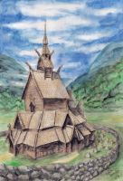 Norwegian stave church by Mobicca