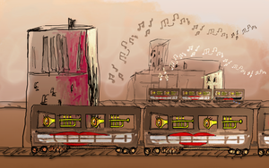 Old jazzy town train by alteredteddybear