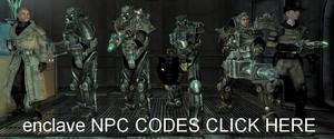 Fallout  3 pc Enclave NPC CODES CLICK HERE by thatguy4802