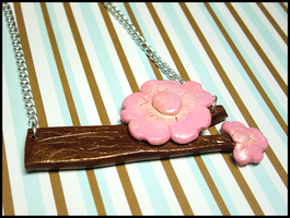 Sakura Branch Necklace by GrandmaThunderpants