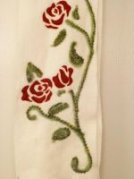 Red Roses Scarf Detail by FlyingFrogCreations