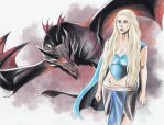 Khaleesi and her Dragon by Nyctoz