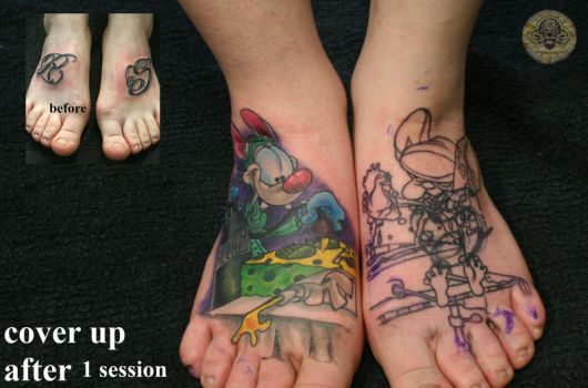 1 ses cover up pinky brain by 2Face-Tattoo