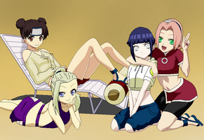 Naruto Girls Summer Time by Silver-Queen