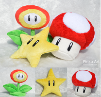 Super mario star, flower and mushroom plushies by PinkuArt