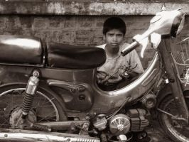 kid and the bike by filthytrip
