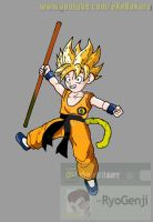 SSJ Kid Goku What if Character (color) by RyoGenji