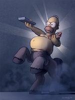 Half-ponified Homer Simpson by Cannibalus