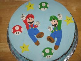 Mario and Luigi cake-top view by Sumrlove