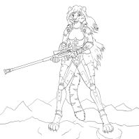 Tigress Power Armor LineArt by RomenusWolf
