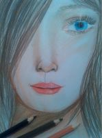drawing of a girl, with my new pencils xD by Sonnenelfe