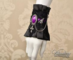 Gothic Cuff Bracelet with cameo by vilindery