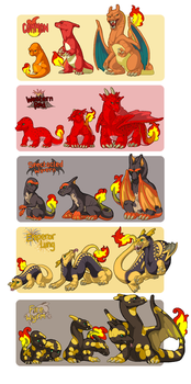 Charmander Family Variants by athelo
