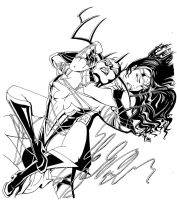 Wonder Woman VS Hela INKS by Theamat