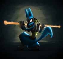 Lucario - Bone Rush by squire-boot