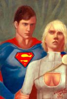 Superman con Powergirl by aleldan