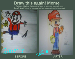 .:My mario drawings before and after :D:. by lilliganto